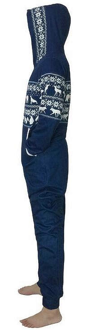Zantt Mens Adult Onesie Reindeer Winter Nightwear Thicken Hooded Cozy Zipper Pajamas
