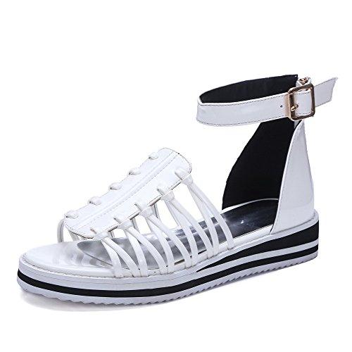 AllhqFashion Womens Pu Assorted Color Zipper Open Toe Low Heels Sandals White 5RNixxNBd8