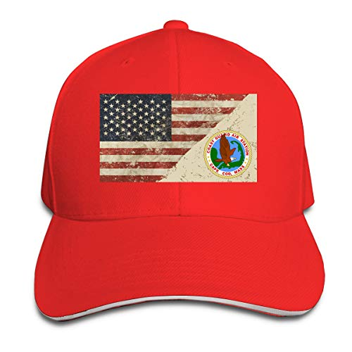 Coast Guard Air Station Cape Cod US Flag Sandwich Hats Baseball Cap Hat Snapback Hat Dad Hat Red