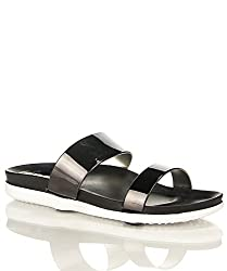 Refresh Hilight-01 Double Strap Slip On Slides Sandals PEWTER (5.5)