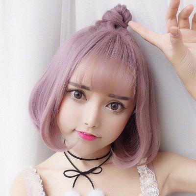 Anime Womens Girls Pelucas Sintéticas Lindo Japonés Corto Bob Neat Bangs Vestido De Lujo Cosplay Pelucas