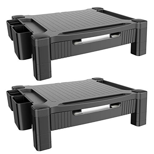 Monitor Stand Riser - Adjustable Computer Riser Printer Stand with Pull Out Storage Drawer, Desk Organizer with Phone/Tablet Slot and Removable Holder for Pen Pencil Office Supplies (2 Pack)