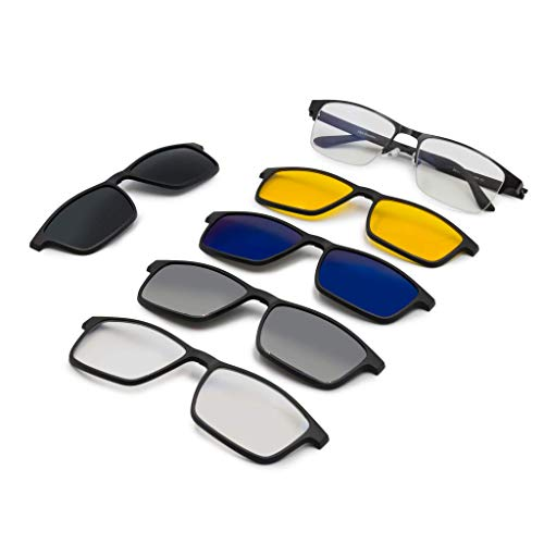 A&A Glasses 5 in 1 Magnetic Blue Block, Night Vision, Polarized Sunglasses Clip-ons for Men | Plastic Frame. Changeable to Computer Glasses, Night Vision Glasses and Sunglasses.