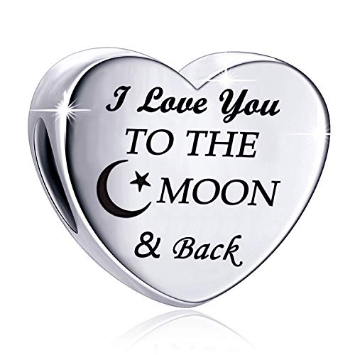 MallDou Jewelry Charm Fit Pandora Charms Bracelet with God All Things are Possible Love Heart Charms Birthday Gift (Moon Back Charm)