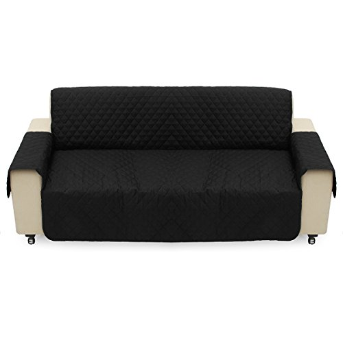 Black Pet Sofa Couch Protective Cover Pads Removable Strap Waterproof Cat Pad 3 Seater Sofa -