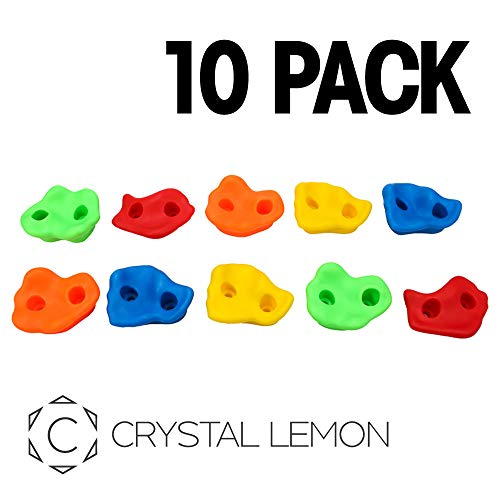 Textured Rock Climbing Holds for Kids with Installation Hardware by Crystal Lemon (Kids-Pack of 10)