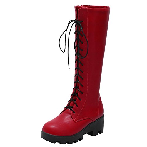 up Lace Zip amp; Tall Latasa Heel Chunky Womens Red up Boots E5BqwO