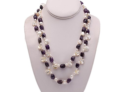 Mabe Clasp - JYX Amethyst and White Irregular Mabe Pearl and White Pearl Necklace Strand