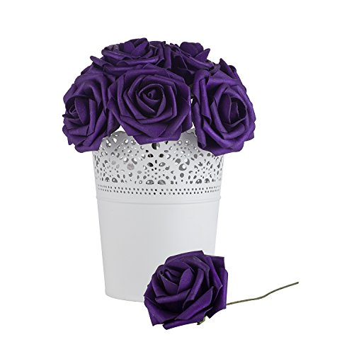 Dinopure Wedding Bouquet 50pcs Artificial Flowers White Real Touch Artificial Roses for Bouquets Centerpieces Wedding Party Baby Shower DIY Decorations (purple) (Centerpieces Wedding Purple)