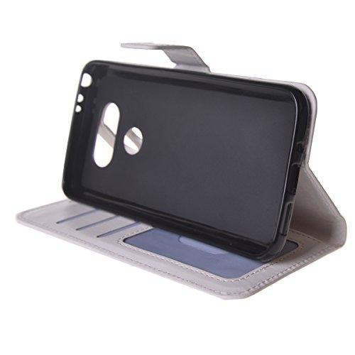 LG G5 Funda,COOLKE Retro PU Leather Wallet With Card Pouch Stand de protección Funda Carcasa Cuero Tapa Case Cover para LG G5 - Rosa Blanco