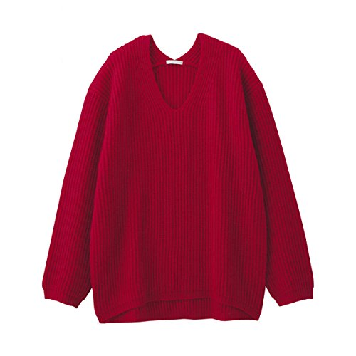 Pull Femme Pull Col V Chaud Automne Hiver Rouge Moutarde Beige Bleu,Red-160/84A/M