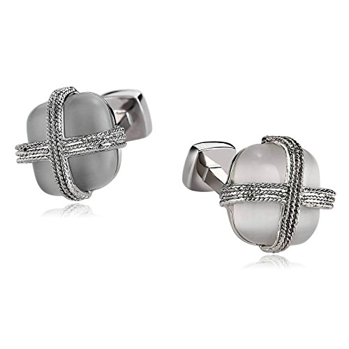 - Beydodo Mens Business Gift Set Cufflinks Stainless Steel White Cross Lines Square Business Gifts Men
