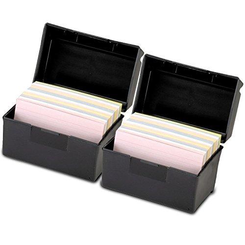 Esselte 01351 Plastic Index Card Flip Top File Box Holds 300 3 x 5 Cards, Matte Black (1 EA) by Esselte