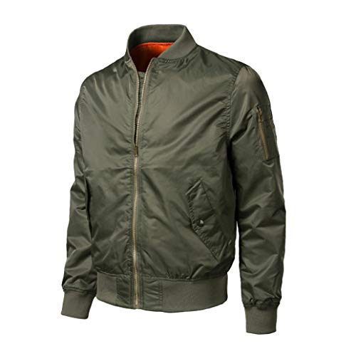 Outwear Spring Jacket Green Solid Autumn Slim Polyester Men Tops Casual Winter Bomber BHYDRY Zipper ZpwSqxvW