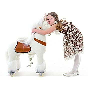 Smart Gear Pony Cycle White Unicorn Ride on Toy:  2 Sizes:  World's First Simulated Riding Toy for kids Age 4-9 Years Ponycycle ride-on medium