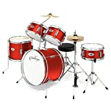Ashthorpe 5-Piece Complete Kid's Junior Drum Set with Genuine Brass Cymbals - Children's Advanced Beginner Kit with 16'' Bass, Adjustable Throne, Cymbals, Hi-Hats, Pedals & Drumsticks - Red