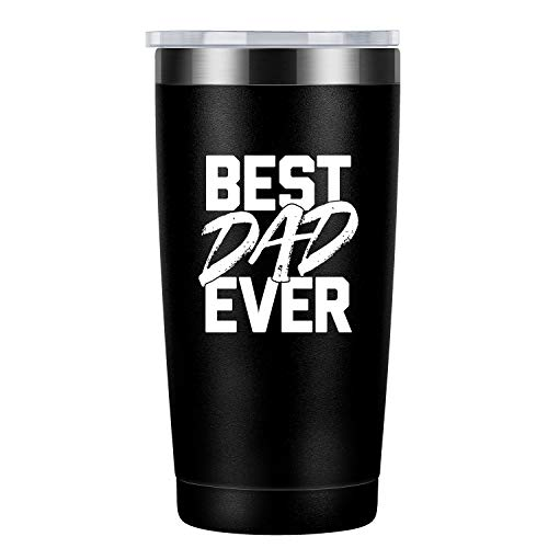 Best Dad Ever | Funny Gifts for Father's Day, Dad Birthday, Christmas from Daughters Sons Wife | Best Dad Gifts for New Dad, Husband, Men | Coolife Stainless Steel Wine Tumbler Insulated Sippy Cup