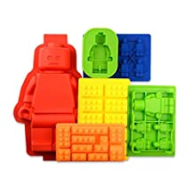 Bigear 6pc Silicone Building Bricks and Minifigure Ice Cube Tray, Chocolate Candy Crayon Jelly Soap Mold Set For Lego Lovers and Kids
