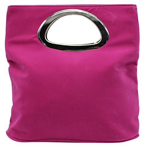 Wocharm Ladies Handbag Womens Suede Leather Plain Tote Bag Foldable Evening Clutch Bag Hot Pink
