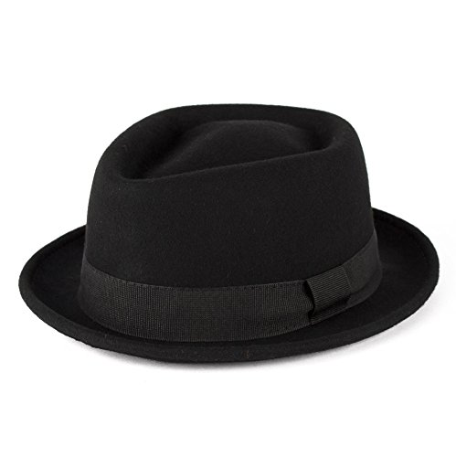 Men's Ladies Trilby Hat Plain Hand Made Fine Felt Grosgrain Bow Style Band - Black (59/L)