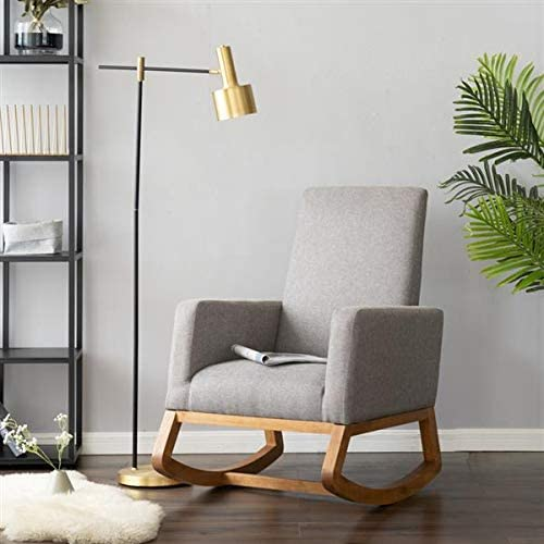 Modern Fabric Rocking Chair Upholstered Living Room High Back Arm Retro Chair, Padded Seat, Wood Base, Rocking Chair for Reading Living Room Bedroom Office Nursery