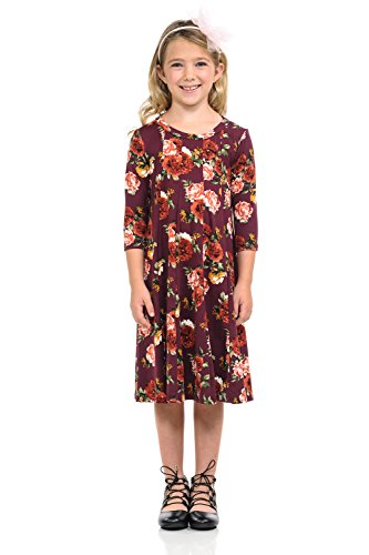 Floral Dress Trapeze - Honey Vanilla Girls' A-Line Trapeze Dress Large 9-10 Years Floral Burgundy Rose