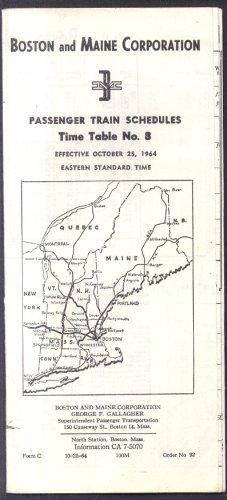 Timetables Railroad (Boston & Maine Railroad Passenger Time Tables #8 10/25 1964)