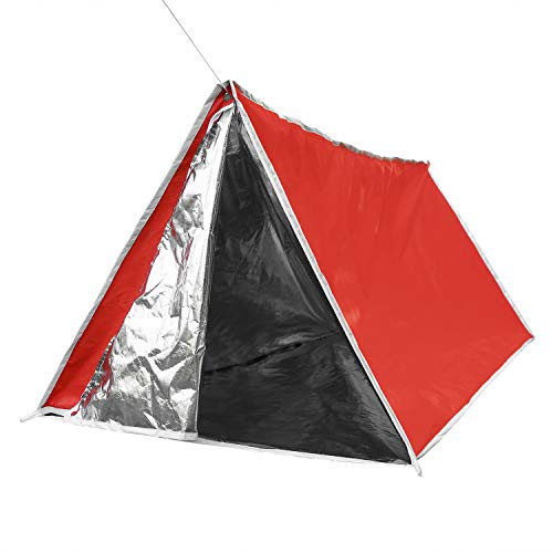 (LYN Survival Tube Tent with Door Dual Zippers Fireproof Material Reflective Waterproof Fireproof Material 1 Person Survival Kits for Camping and Emergencies)