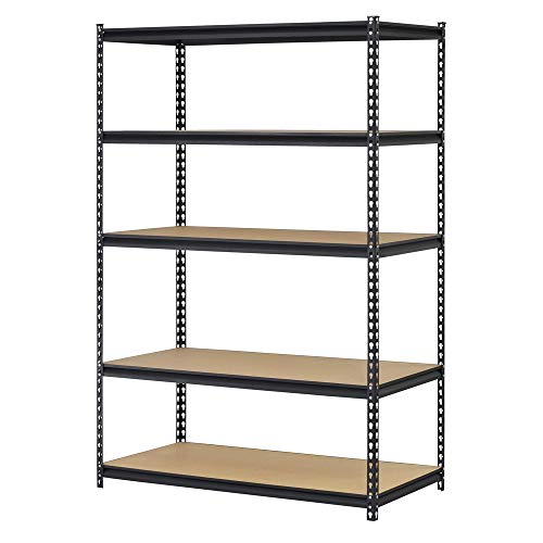 EDSAL UR245AZ-BLK Steel Storage Rack, 5 Adjustable Shelves, 4000 lb. Capacity, 72″ Height x 48″ Width x 24″ Depth, Black (3 Pack)