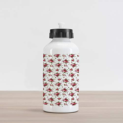 Ambesonne Flowers Aluminum Water Bottle, Bridal Bouquets Pattern with Roses and Freesia Romantic Victorian Composition, Aluminum Insulated Spill-Proof Travel Sports Water Bottle, Pink Ruby Green