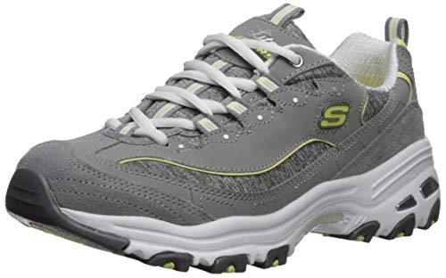 Skechers Women's D'Lites-ME TIME Sneaker, Grey/Yellow, 8 M ()