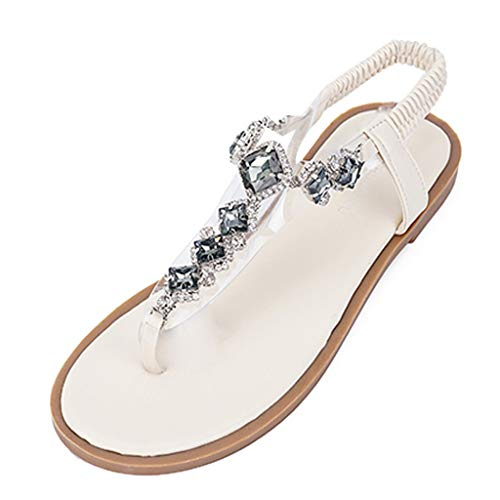 Summer Beach Flat Sandals,✔ Hypothesis_X ☎ Women's Elastic Thong Ankle Strap Summer Roman Sandals White -
