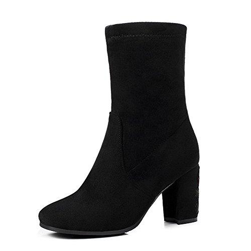 AllhqFashion Damen Ziehen auf Hoher Absatz Flaum Futter Rein Quadratisch Zehe Stiefel, Schwarz, 39