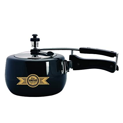 1836e12d7 Image Unavailable. Image not available for. Colour  United Elite Hard  Anodised Induction Base With Stainless Steel Lid Pressure Cooker 3 Ltr
