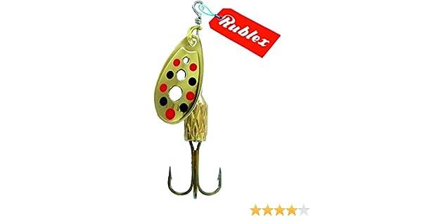 Rublex - Pack de 5 Cucharillas de Pesca C-Turbo-2 OPRN | Cebo Artificial de Pesca con Sistema de Clip y Acción de Giro Mejorado, Oro Puntos Rojos Negros, 35gr: Amazon.es: Deportes y