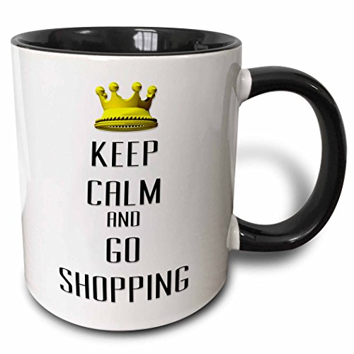 3dRose 120835_4 Gold Crown Keep Calm And Go Shopping Two Tone Black Mug, 11 oz, White (Keep Calm And Go For The Gold)