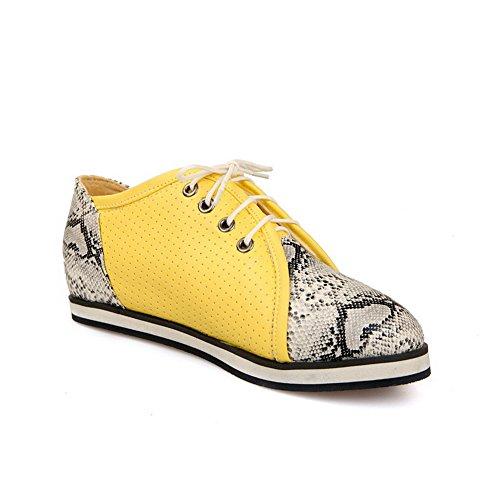 Balamasa Mujeres Lace-up Assorted Color Python Pattern Material Suave Flats-Zapatos Amarillo