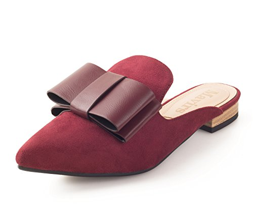 Mavirs Loafers For Women, Womens Loafers Suede Backless Slip On Loafers Bow Embellished Mule Slippers 8.5M US