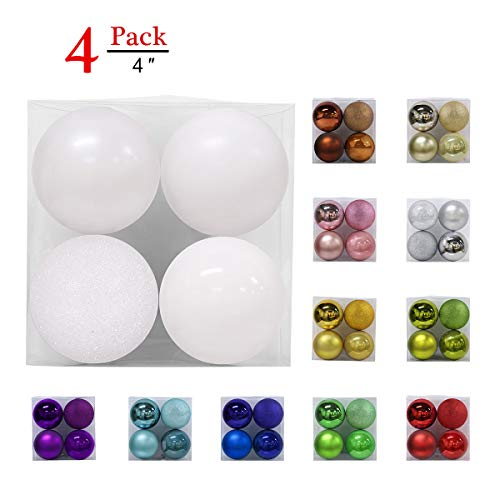 GameXcel Christmas Balls Ornaments for Xmas Tree - Shatterproof Christmas Tree Decorations Large Hanging Ball White 4.0