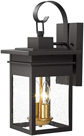 Zeyu 2-Light Exterior Wall Mount Lantern, Outdoor Wall Lights for House in Black and Gold Finish with Seeded Glass Shade, 20072B2