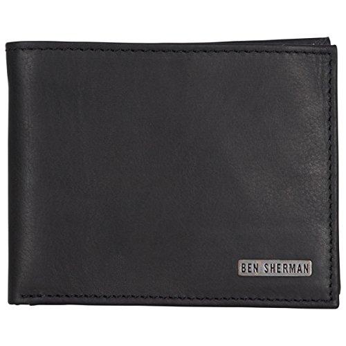 - Ben Sherman Men's Leather Five Pocket Bi-fold Passcase Wallet with Id Window (RFID), Black