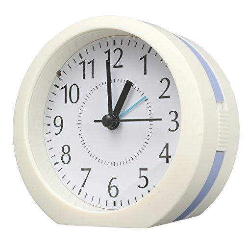 AUDEW 16 Kinds of Music Round Plastic Alarm Clock, 12℃ Bottom Tilt Creative Travel Alarm Clock, Bedside Silent Snooze Night Light Alarm Clock blue