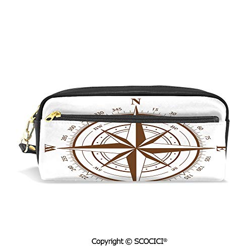 Students PU Pencil Case Pouch Women Purse Wallet Bag Seamanship Brown Compass with Windrose and Detailed Angles Directions on The Ocean Print Waterproof Large Capacity Hand Mini Cosmetic Makeup Bag ()