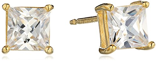 Amazon Essentials Yellow Gold Plated Sterling Silver Princess Cut Cubic Zirconia Stud Earrings - Settings Gold Square