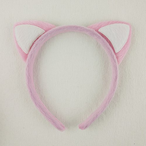 Fluffy Cat - Hixixi 4pcs/pack Girls Fluffy Cat Ear Metal Headband for Fancy Dress Party (pink+white)