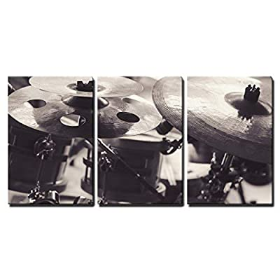 3 Piece Canvas Wall Art - Closeup View of Cymbals in Black and White. - Modern Home Art Stretched and Framed Ready to Hang - 16