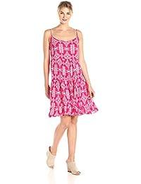 Women's Printed Spaghetti Strap Tiered Tank Dress