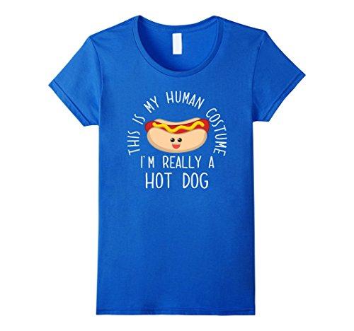 Teen Hot Dog Funny Costumes (Womens Funny Human Costume Hot Dog T-Shirt Christmas Birthday Gift Large Royal Blue)