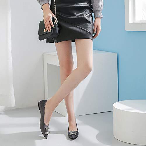 Sposa Superficiale Grey Donna Bocca Moda Da Scarpe Punta Morbide Di Strass Basse Con 5v71xq