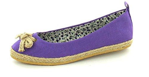 Womens Pumps Canvas Detail Strand Lila Ballerinas Neue Damen Schuhe Bow Slip On qqUxr1
